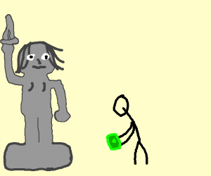 Person paying a woman statue