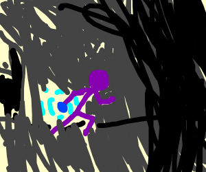 purple stick figure in cave with blue item