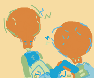 two big brained men beating up a jellyfish