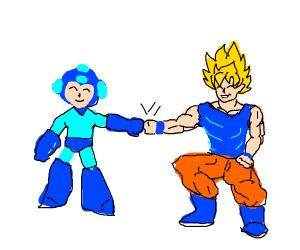 mega man and goku fist bump