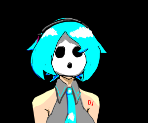 Miku With Short Hair And A Shy Guy Mask