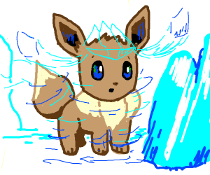 Eevee evolving into glaceon