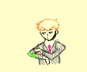 Orange haired man paints himself