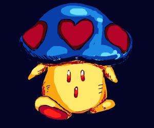 Surprised mushroom w/ hearts on its cap