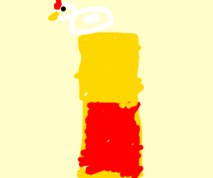 foamy chicken in a red and gold tower