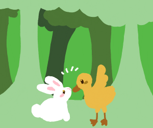 Bunny and duck meeting at dawn in the forest