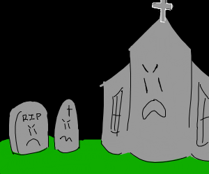 Angry tomb stones next to angry church