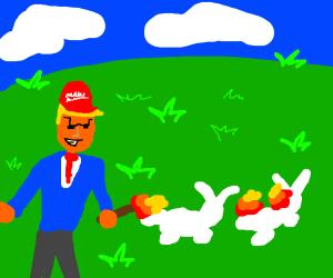 MAGA guy burns rabbit