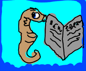 Seahorse reading a newspaper