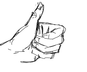 Thumbs up from a realistic hand