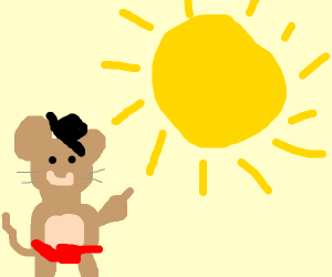 Mouse in clothing points at sun