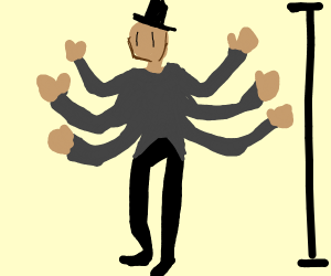A tall man with a line for an eye with six ar