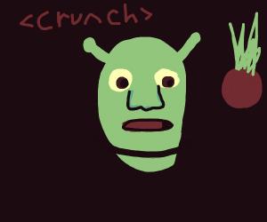 shrek eating radishes