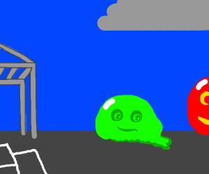 green ball, broken, sad smile