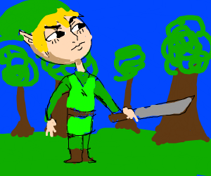 Link with a massive head in the woods