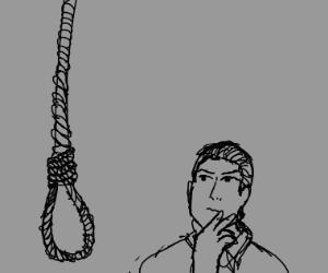 man contemplates suicide