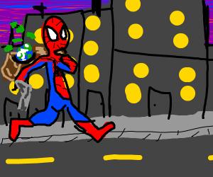 Spiderman with gun steals the world