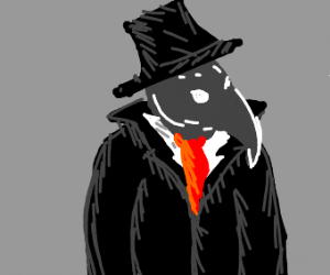 Plague doctor in a tuxedo and top hat