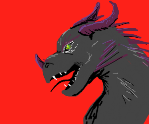 Black dragon with purple spikes