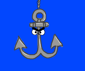 Angry anchor underwater