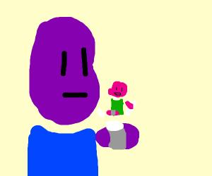Purple alien projects pink alien with watch