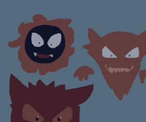 Ghastly, Gengar, and Haunter