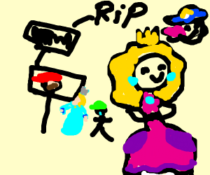 Princess peach is happy at Mario's funeral