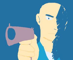 Menacing man with a gun