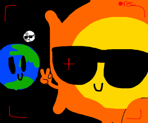 Emoji sun taking a selfie with its planets