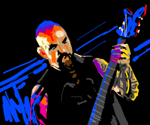 Evil bald guy playing guitar