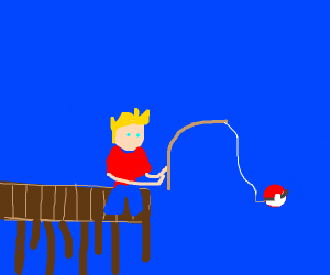 Man fishing A pokeball from the sea