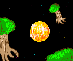 Planet surrounded by space trees