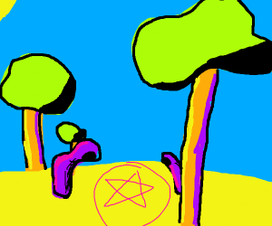 satanistic cult celebrating in a forest