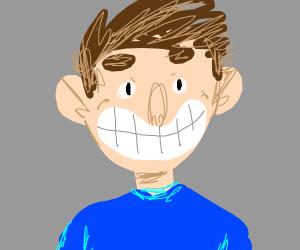 human with huge teeth grin