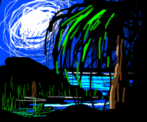 Trees emerge from swamp under the moonlight