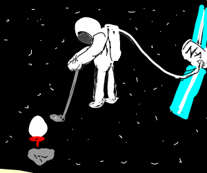 Astronaut in space with a golf club