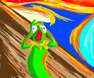 "Kermit performing munch's ""the scream"""