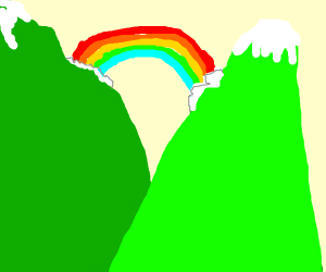 Rainbow between two mountains