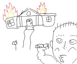 Baby burns down house