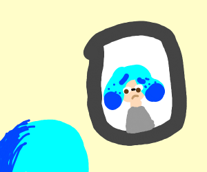 squid looking at himself in the mirror