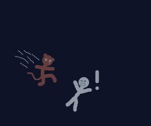 Monkey child jumps at man