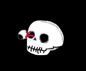 Skeleton's eye pops out of its head