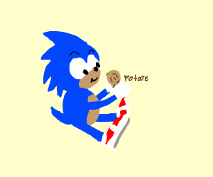 Sonic playing with a Potato