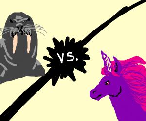 Walrus Vs. Purple unicorn