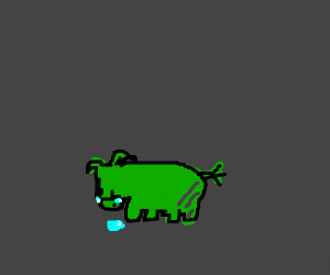 A miserable green pig