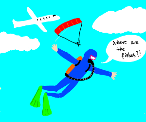 man confuses sky diving with scuba diving