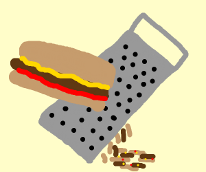 Using a cheese grater on a hotdog