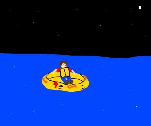 life raft at night
