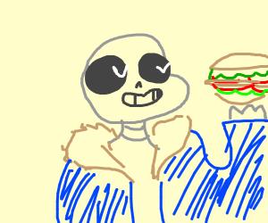 Sans loves his giant blt sandwich