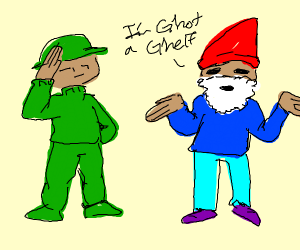 Soldier saluting a  confused civilian